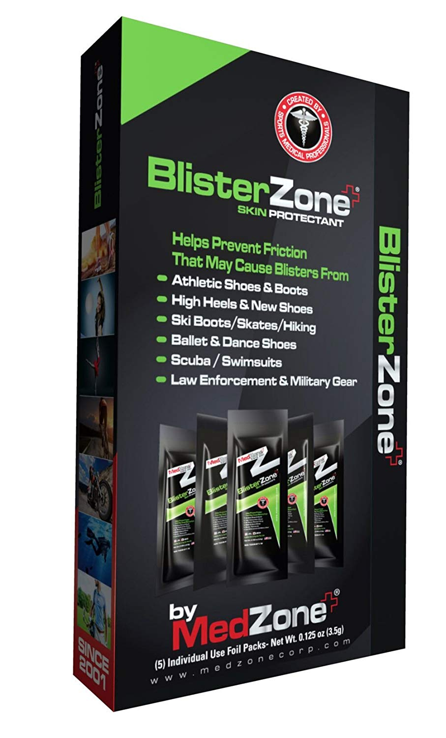 MedZone - BlisterZone Skin Protectant – Foot Blister Gel – Hand & Foot Blister Protectant - 1/8 oz (3.5gm) 5 Count Box - 2 Pack