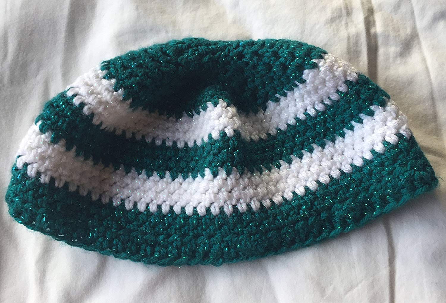 Dark Teal and White Sparkles Crocheted Brioche Style 7×24 Inch Hat
