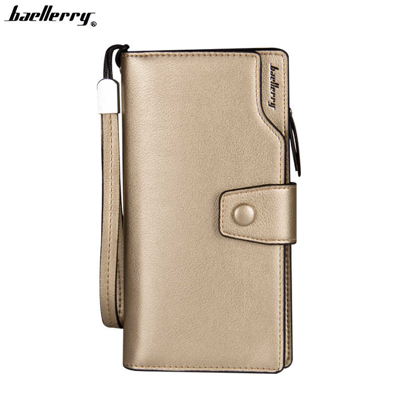 Baellerry New fashion multi-color tri-fold European and American multi - function PU leather buckle ladies long <strong>wallet</strong>