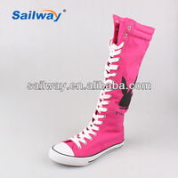 2014 china wholesale shoes canvas women boots lace-up and zipper thigh high boots for women