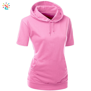 Short sleeve blank hooded t-shirts women tee shirt with hoodie strings cotton tees functional side pockets tee