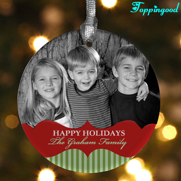 Personalized Happy Holiday Children Photo Picture Hanging Ornaments