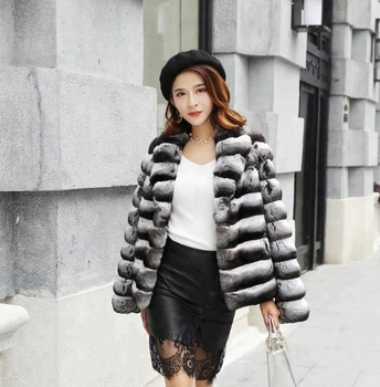 Wholesale Price Black And White Striped Thick Real Mink Fur Coats Women 374b0e749