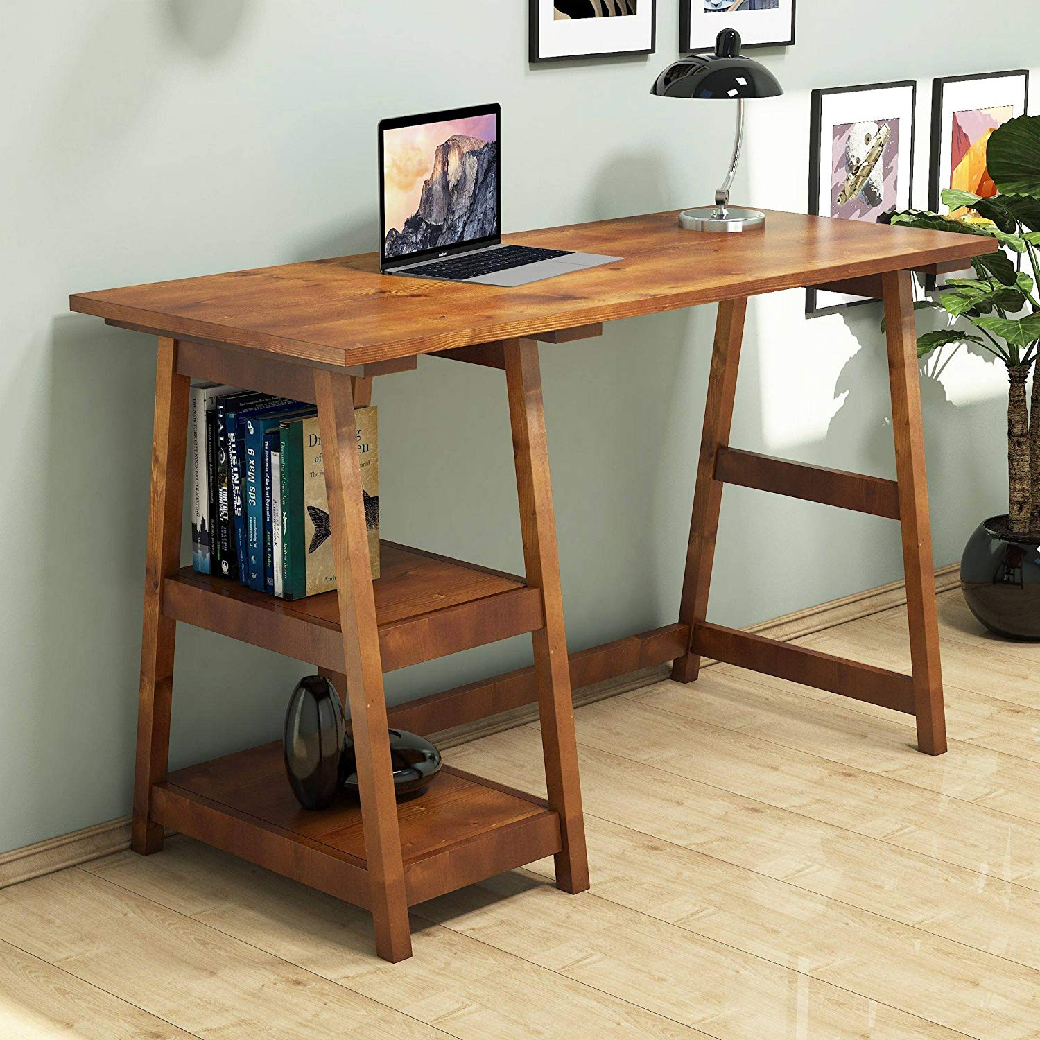 Writing Computer Desk Modern & Simple Brown Wooden Decorative Useful Stable Bold Stylish Study Desk Industrial Style Study & Laptop Table Home, Office, Living Room, Study Room Walnut