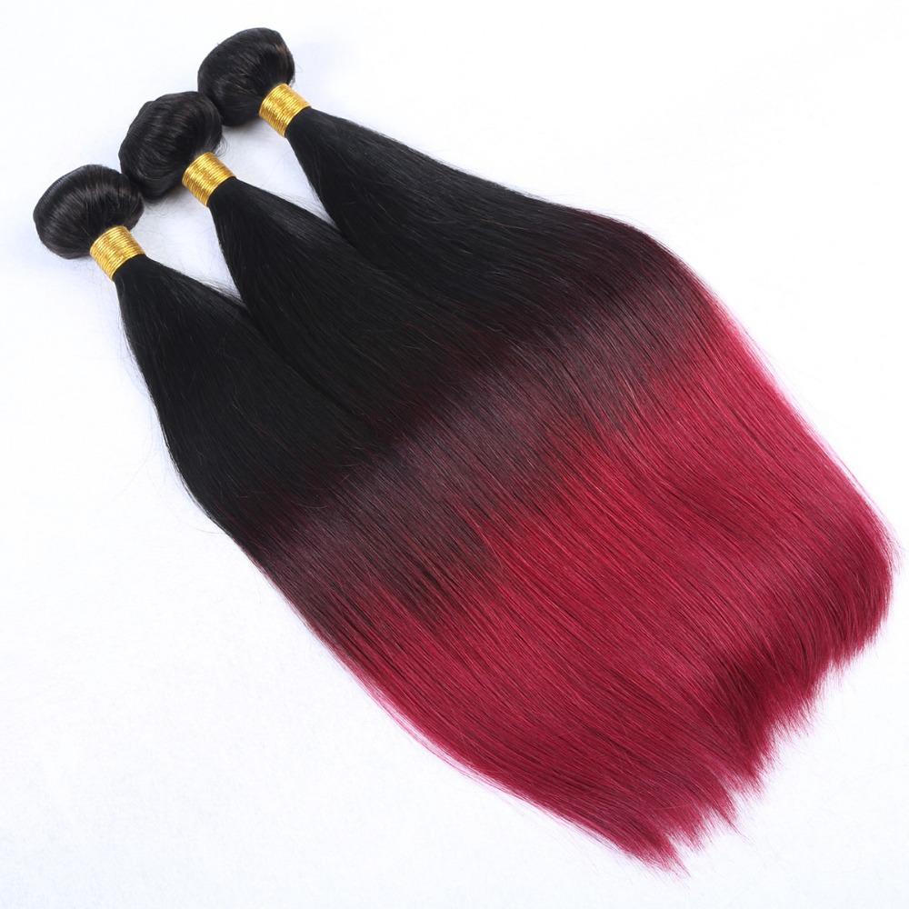 Buy Brazilian Virgin Hair Straight 3pcs Ombre Hair Extensions T1b