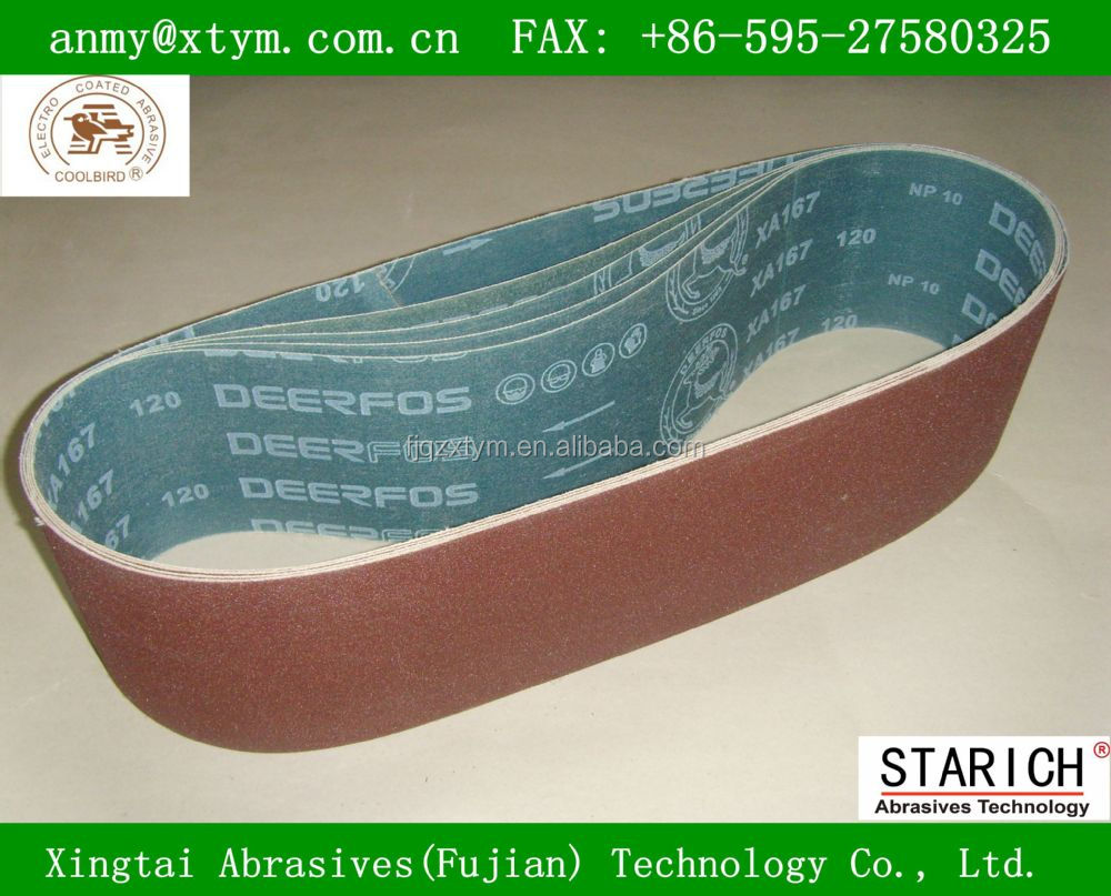 XA167 high quality deerfos abrasive belt for stainless steel and wood