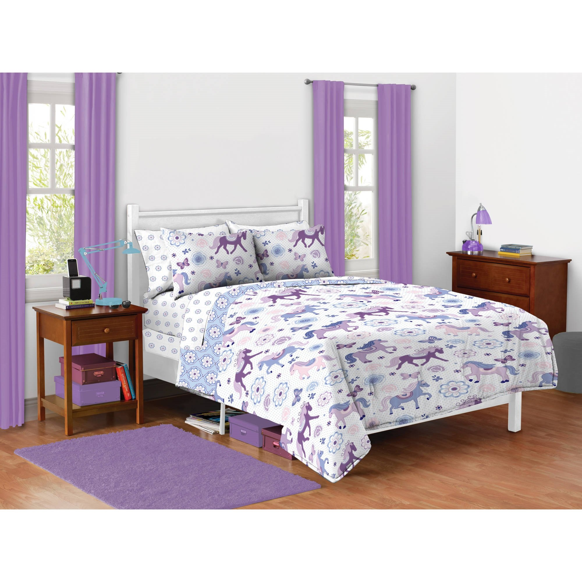 5 Piece Kids Pretty Horses Comforter Twin Set, Girls Beautiful All Over Purple Pony Bedding, Printed Butterflies Daisy Florals, Adorable Cute, Purple White Ponies, Beautiful Flowers