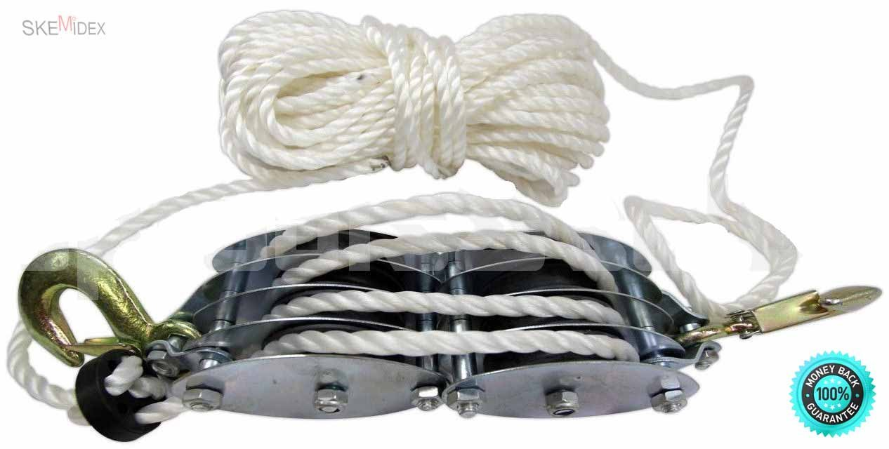 SKEMiDEX--- 2 Ton Poly Rope Hoist Block & Tackle Pulley Wheel Poly Wild Game Hanger 65' Rope 65 feet rope poly rope. Lifting Power Ratio: 7:1 Working Load Capacity: 2 Ton 4 wheels for smooth rolling.