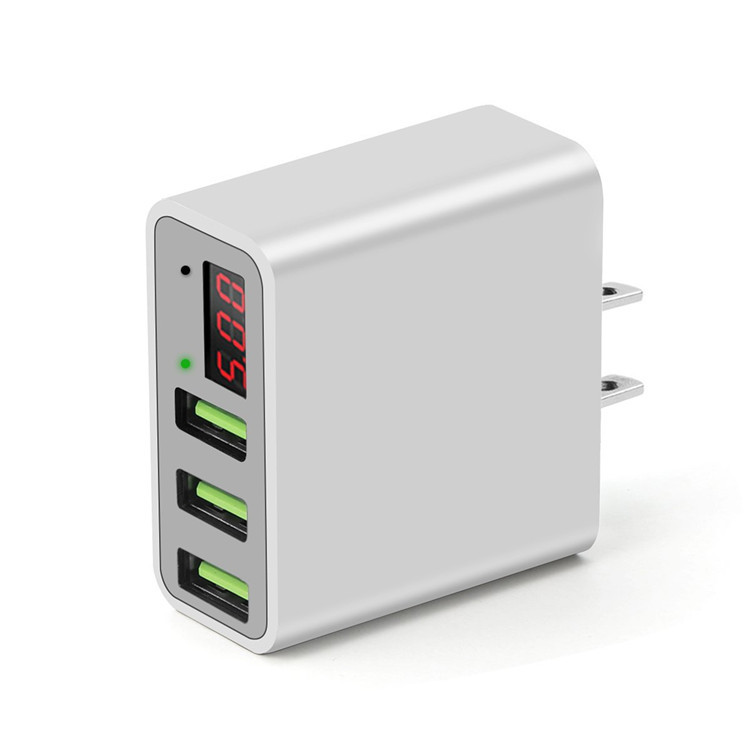 3-Port USB Wall Charger with LED Display, 5V/3A Portable Phone Quick Charger Voltage Current Monitor AC Adapter