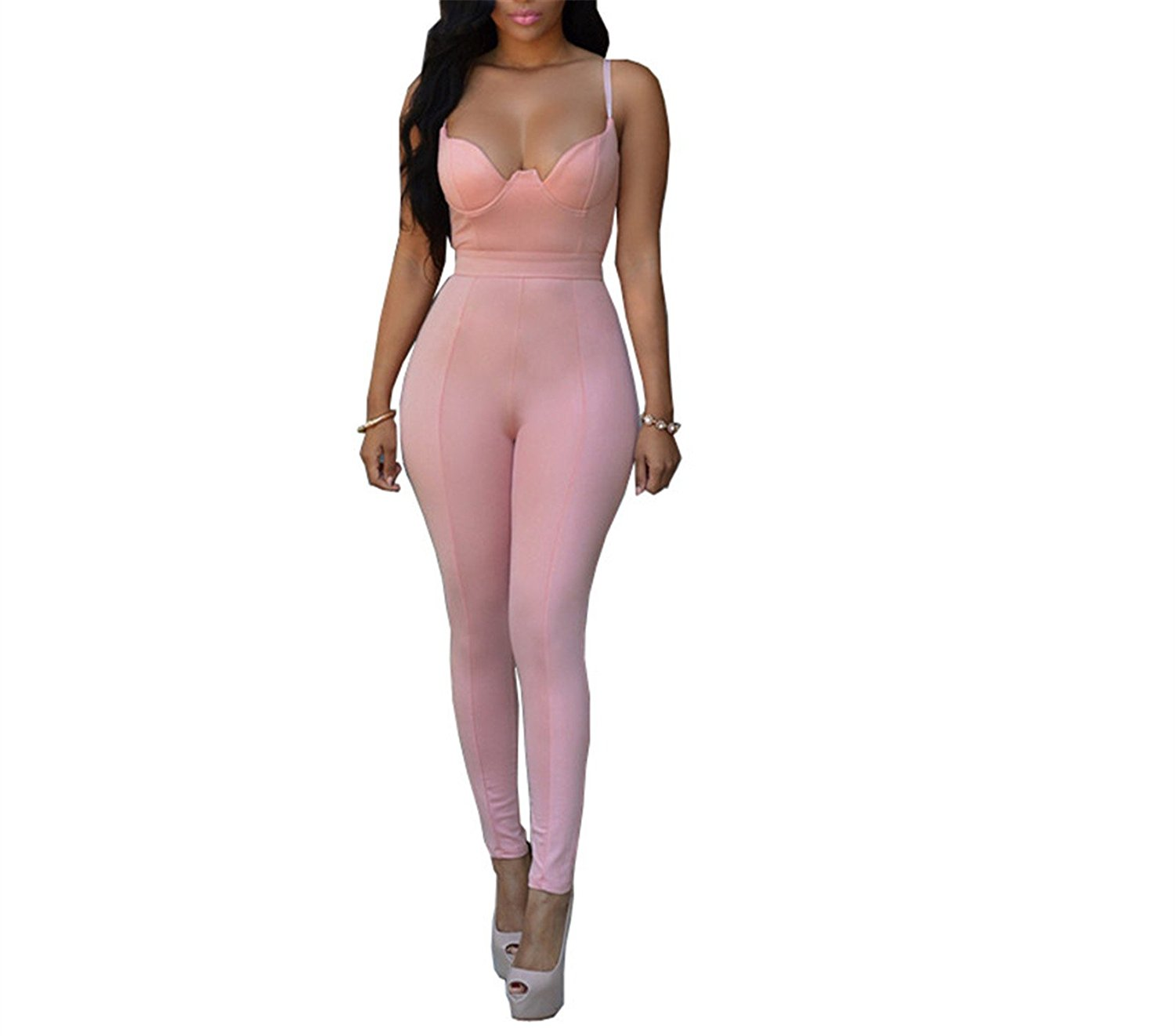 40413f9c7d5 Get Quotations · Soto6ro Women Backless Bandage Sexy Jumpsuit Latex Smooth  Wetlook Tight-Fitting Cute Faux Leather Jumpsuit