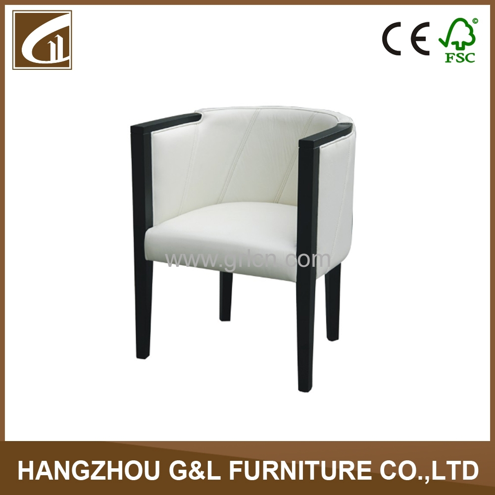 modern design white leather living room chair/hotel chair with arm