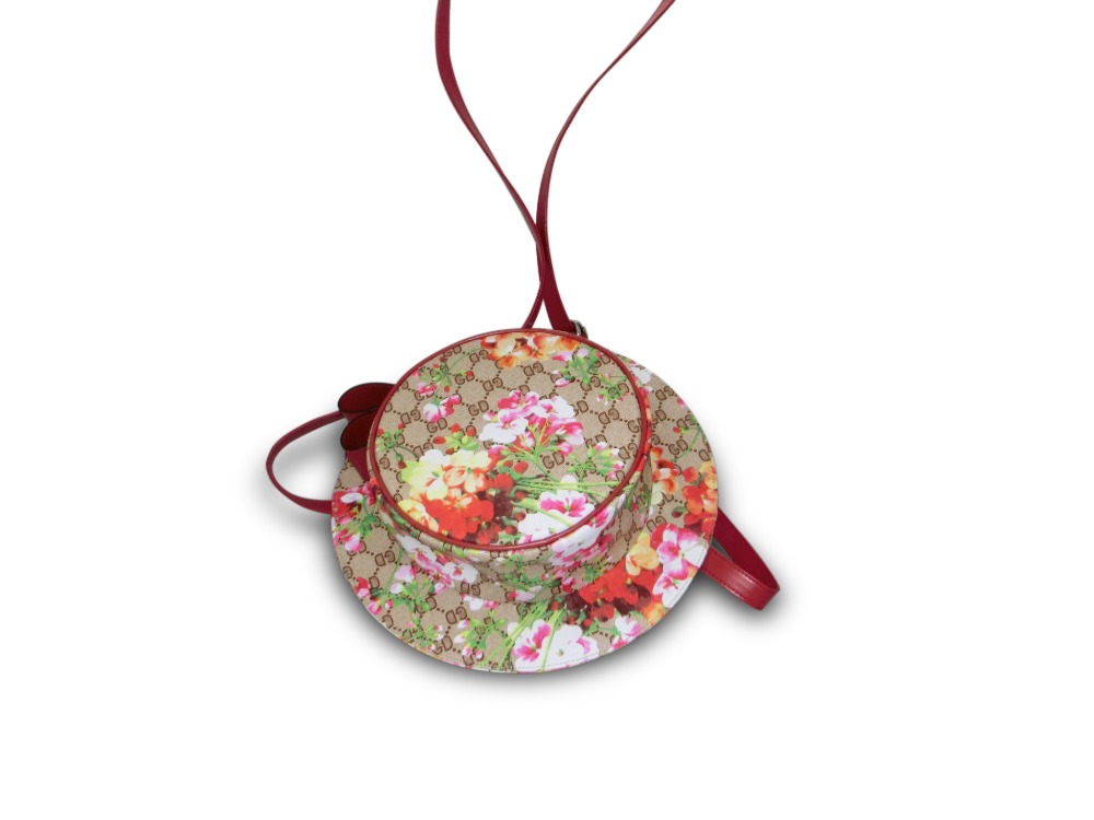 Fashion Hat Shape Floral Printed PVC Leather Mini Round Backpack for Girls Crossbody Bag for Shopping
