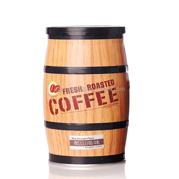 Barrel Wooden Coffee Container Bean Vacuum Storage