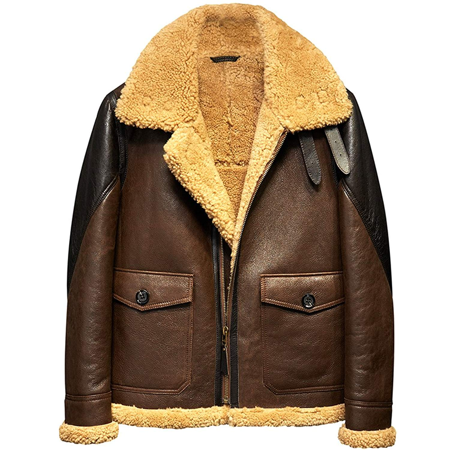 80ba6b9a0f2 Get Quotations · Light Brown B3 Men s Shearling Leather Jacket Original  Flying Jacket Men s Fur Coat Pilots Coat