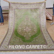 Yilong 5'x8' green oriental hand knotted carpet handmade indian rugs
