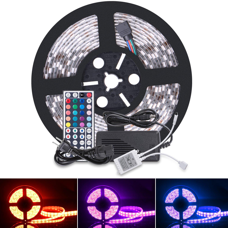 Boomile 16.4ft 12V Flexible LED Light Strip, LED Tape, RGB 300 Units SMD 5050 LEDs, Waterproof, LED Ribbon, LED Light Strips, For Home/Kitchen/Car/Bar, Power Adapter Included