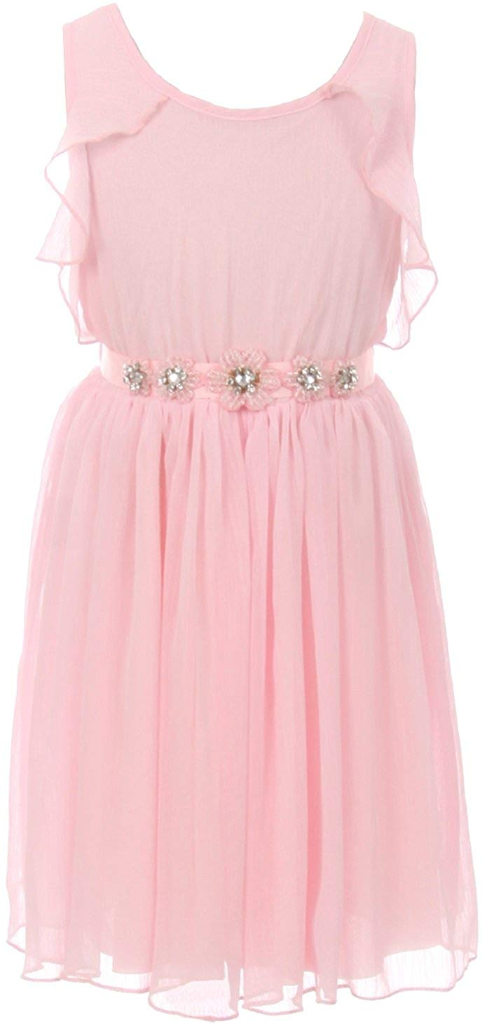 20d7400ab Get Quotations · Dreamer P Sleeveless Girls Dress Round Neck Ruffles  Chiffon Summer Flower Girl Dress