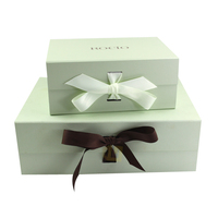 High Quality Custom Luxury Rigid Cardboard Packaging Magnetic Folding Paper Wedding Dress Gift Box with Ribbon Closure