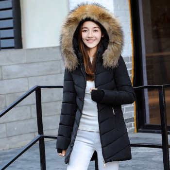 Women Coats Artificial raccoon hair collar Female Parka black Thick Cotton Padded Lining with YKK zipper