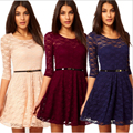 Sexy Full Lace Summer Women Dresses NEW 2016 Solid O neck Half Sleeve Office Casual Dress