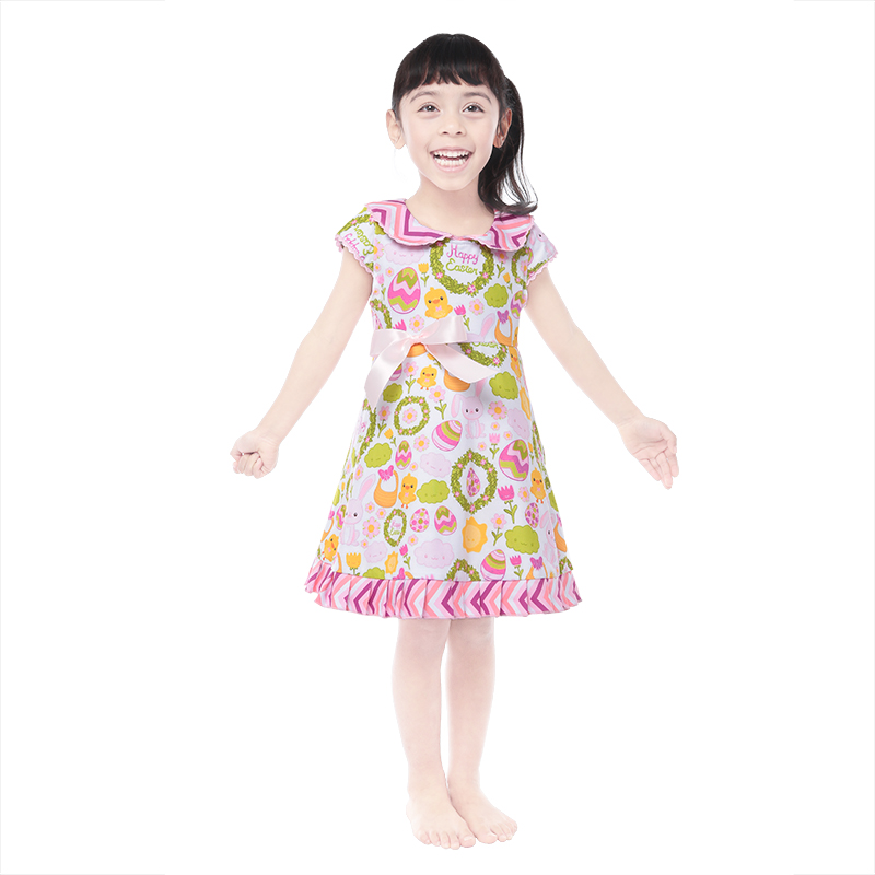 wholesales girls kids baby clothing colored egg print cartoon dress girls Easter clothing dress