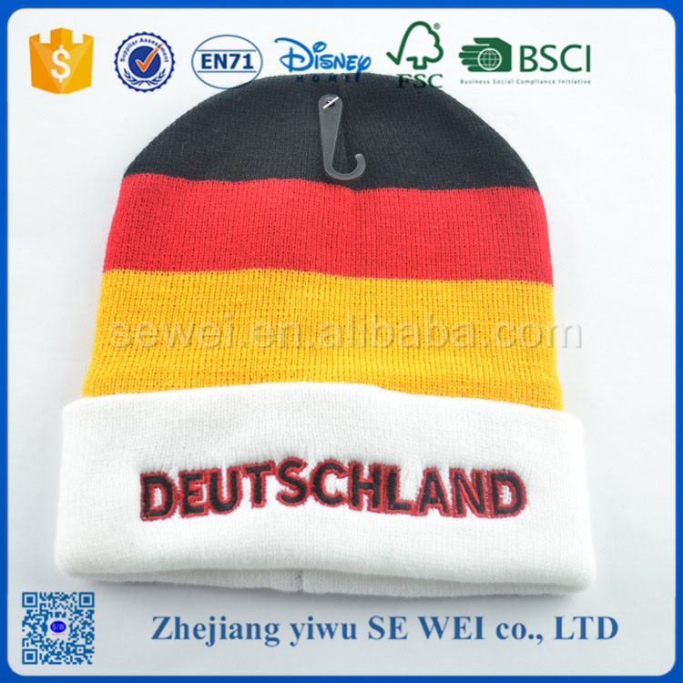 Wholesale Cheap Price Acrylic World Cup football fan knitted cap beanie
