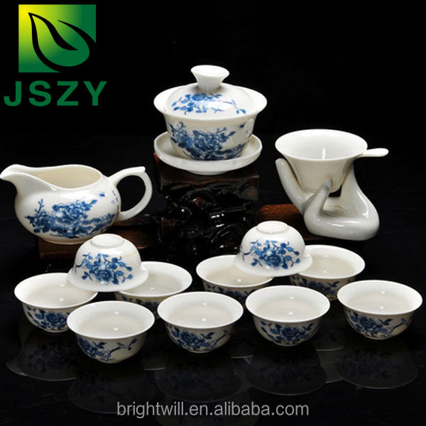 SPECIAL New Style Jade Porcelain Kung Fu Tea Set Dehua Tea Set with 14 pcs