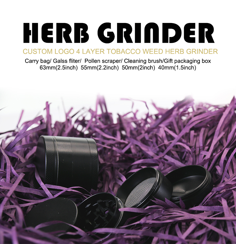 CB Grinder matte black grinder 4 Layer herbal tabak weed grinder