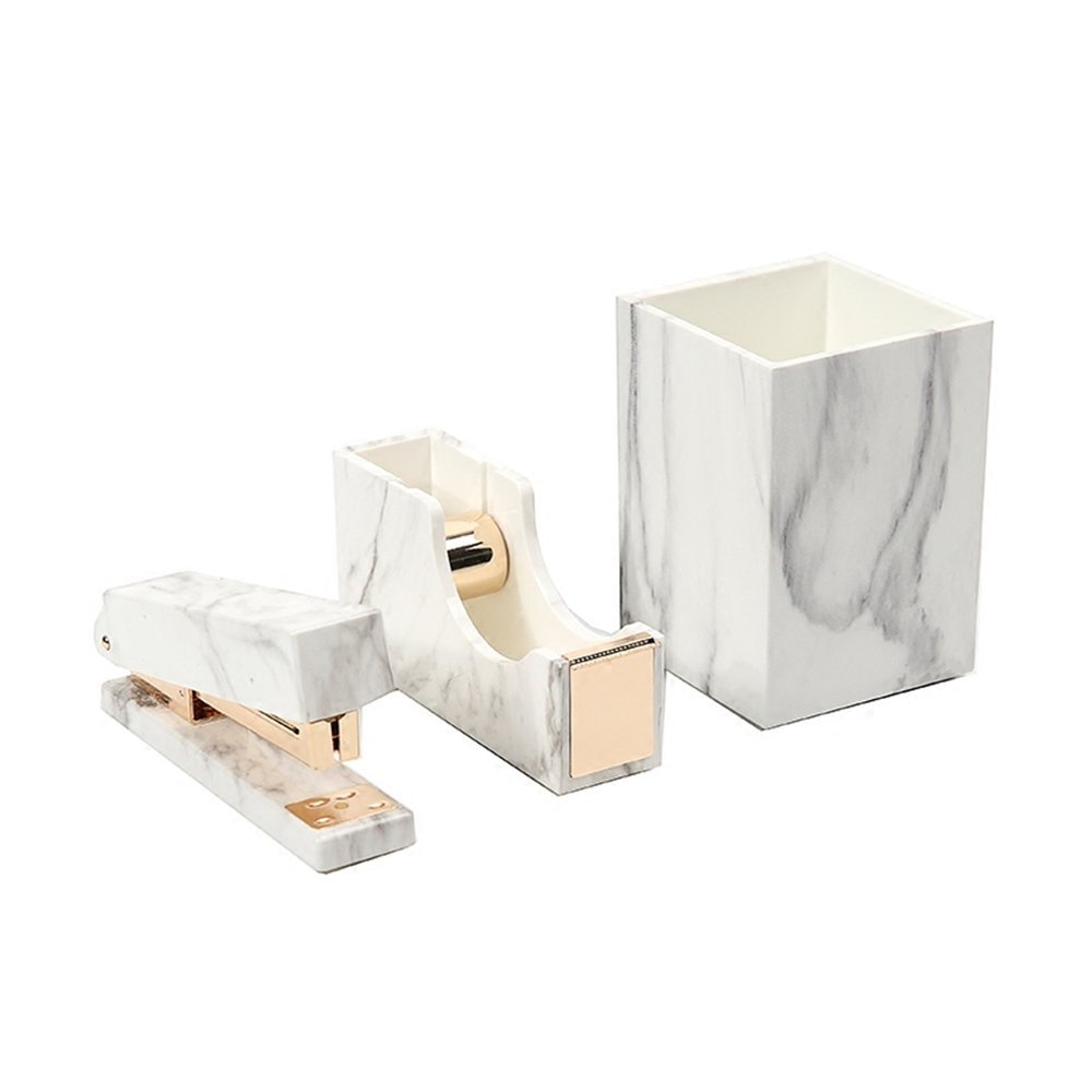 3 Pack White Marble Print ABS Desk Pen Holder Cup, Tape Dispenser Holder, Desktop Staplers for Office Accessories Supplies (Pen Holder & Tape Dispenser & Stapler)