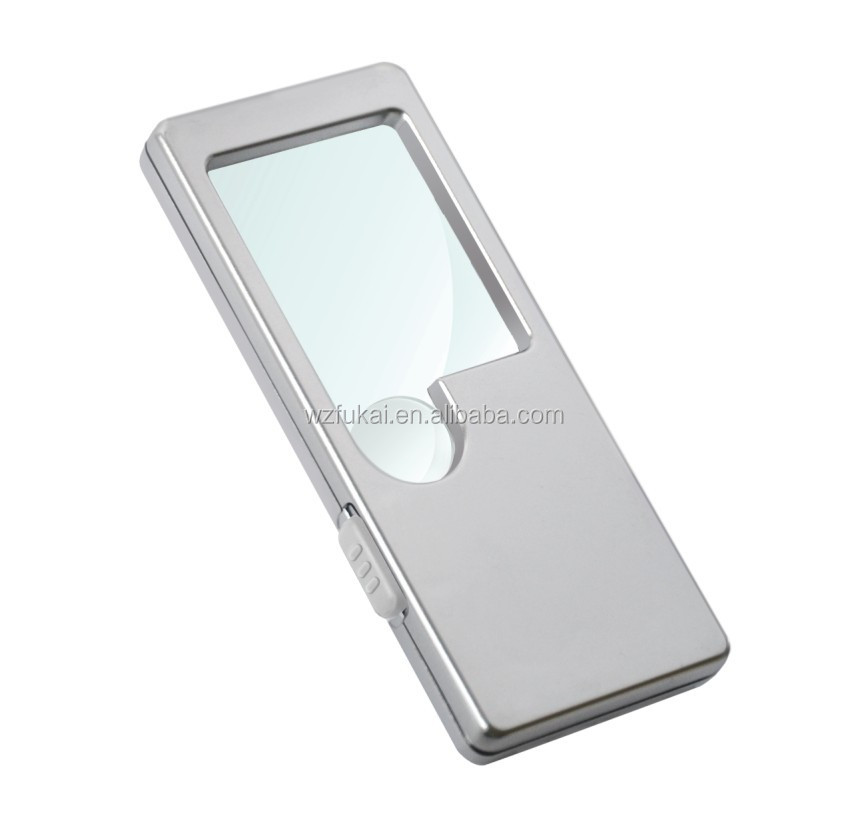10x mobile phone screen plastic card magnifier with LED light