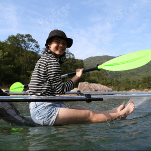 Transparent polycarbonate kayak canoe with stabilizer outrigger