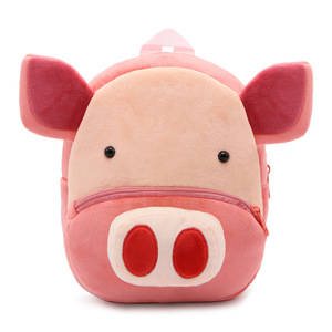 Fashion Cute Lovely 3d Print Cartoon Zoo Animal Pig Backpack Kindergarten Creative Wholesale Mini Plush Baby Bags Baby Backpack