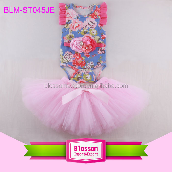 Summer Boutique 2 Pieces Outfit Cotton Baby Girls Crop Top Leotard And Ruffle Shorts