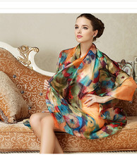 Wholesale Digital Printing Long 100% Pure Silk Satin Scarf