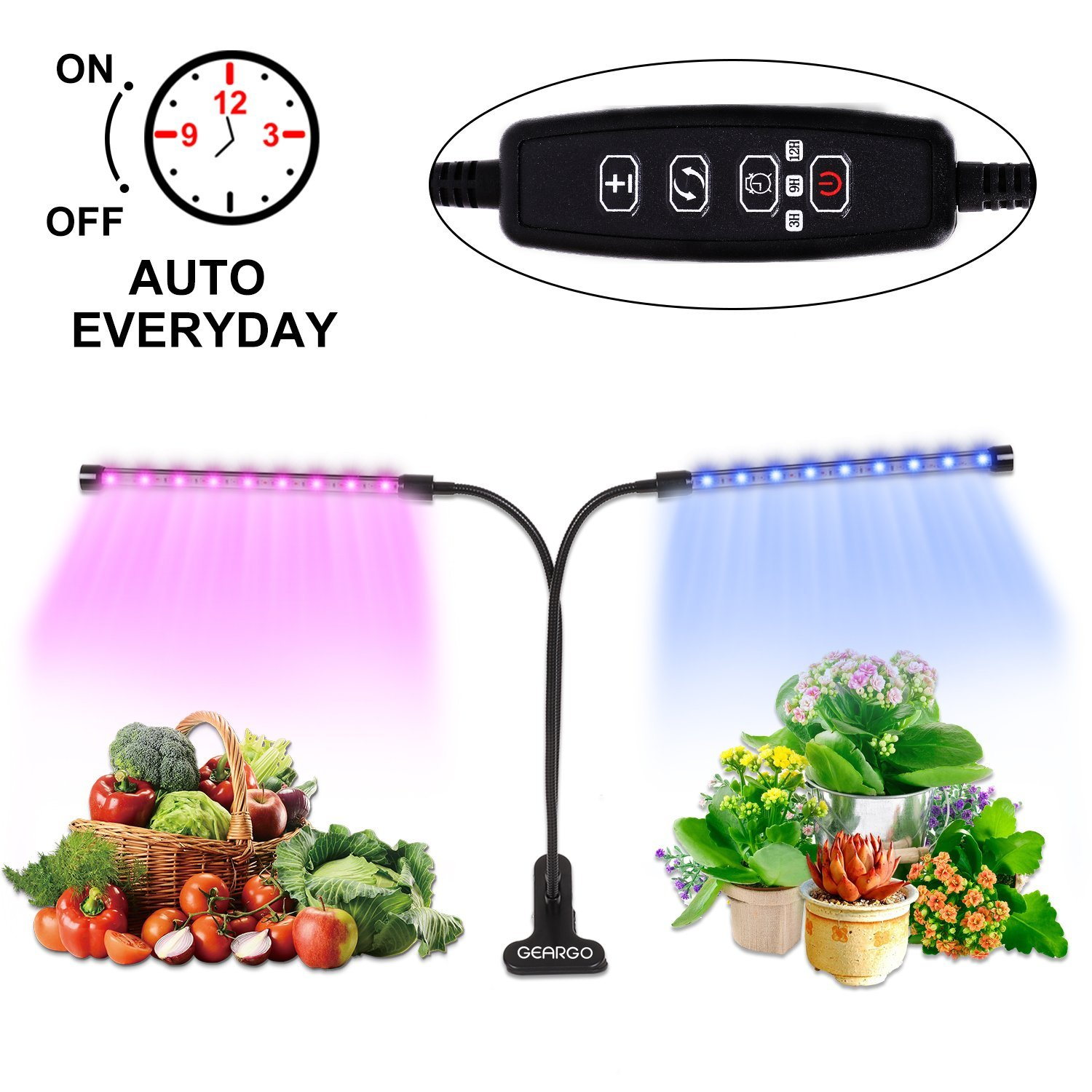 Plant Grow Light, GEARGO 18W Led Grow Lamp AUTO Turn ON/Off, 3H/9H/12H Timers 36 LED Dual Head 5 Dimmable Level 360 Degree Gooseneck Plant Light Bulbs for Indoor Plants Gardening [2018 Upgraded]