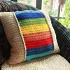 Rainbow decorative pillow Square handmade crochet cushion cover