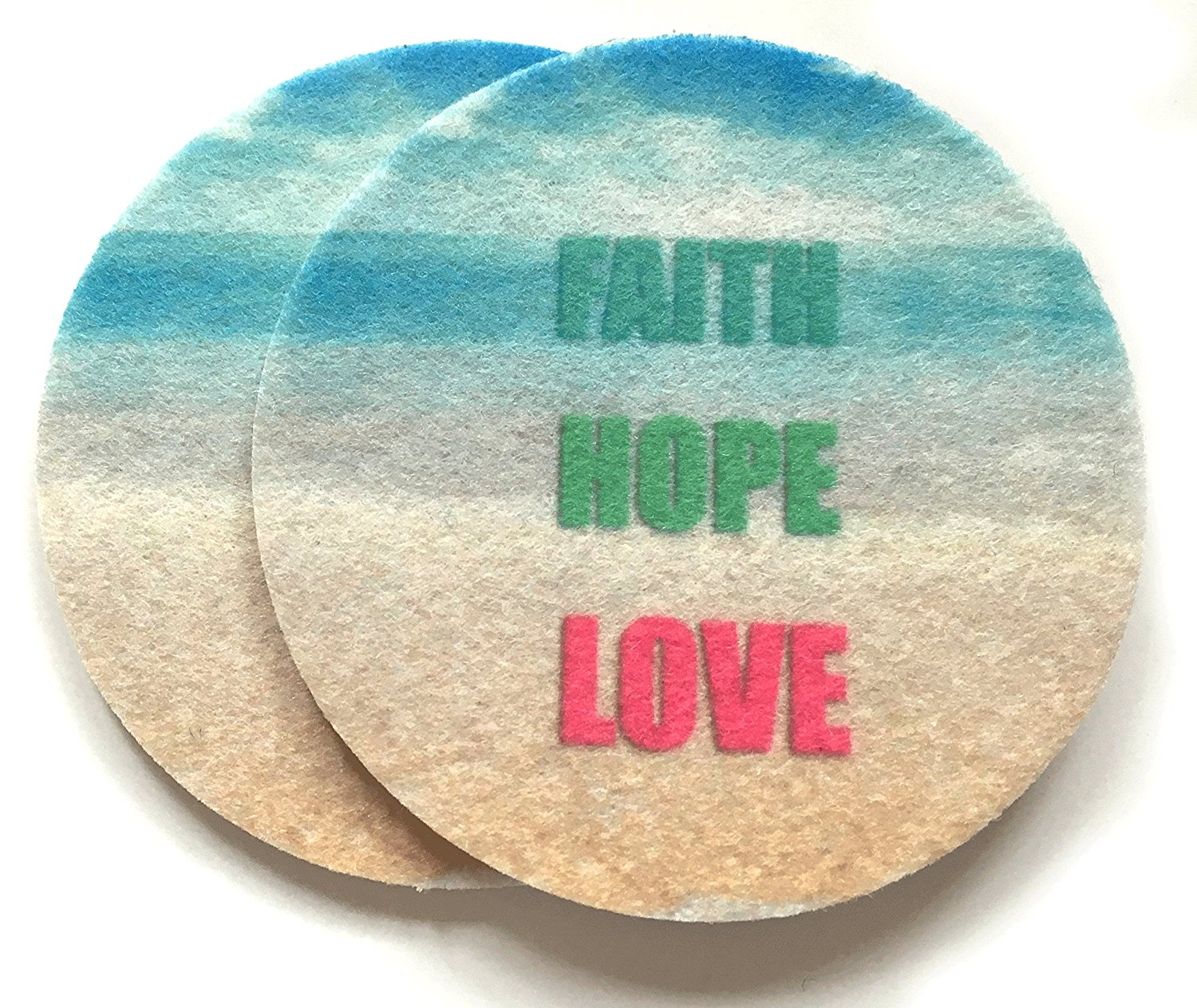 Car Cup Holder Coasters - Set of two super absorbent car coasters for your car's cup holder - Faith, Hope, Love car coasters