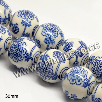 Popular hand painted Flower pattern round Blue and White Porcelain Beads ceramic bead