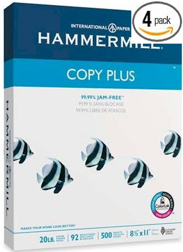 4 X Hammermill Copy Plus Multipurpose/Fax/Laser/Inkjet Printer Paper, Letter Size (8.5 x 11), 92 Brightness, 20 lb, Acid Free, Ream, 500 Total Sheets (105007)