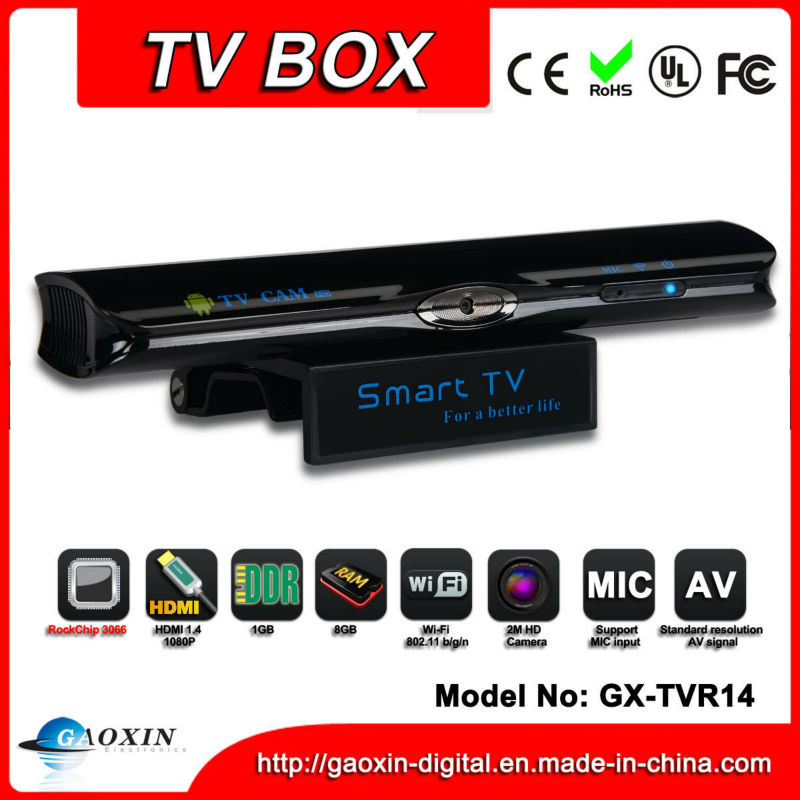 RK3066 dual core android iptv <strong>box</strong> built in 2.0MP camera (GX-TVR14)