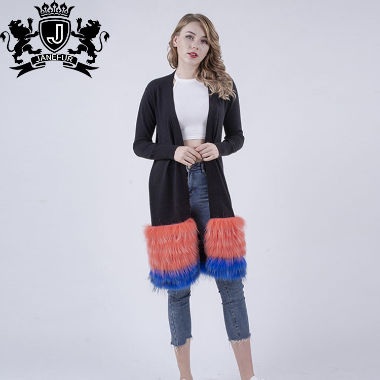 Plus Size Soft and light women knit clothing Luxurious fur hem Wool <strong>Long</strong> <strong>Cardigan</strong> &amp; Sweater