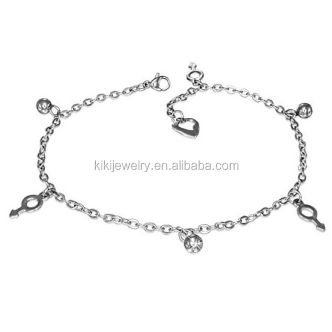 Stainless Steel Gender Symbol Ball Charm Link Chain Bracelet// Anklet