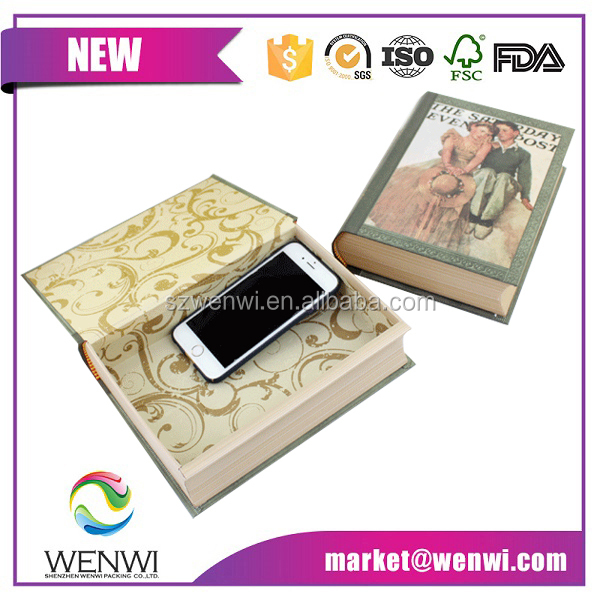 Custom printed cardboard book shaped gift box for home decoration