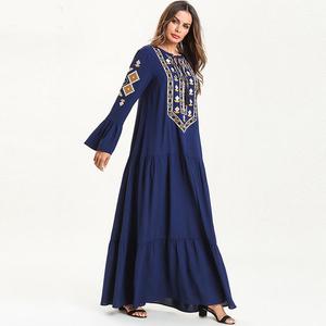 437d7402feda4 Abayas Women Islamic Clothing Flowers Print Fashion Bandage Hijab Dresses  Maxi Muslim Dress Bangladesh Kaftan Dubai Turkey Robe