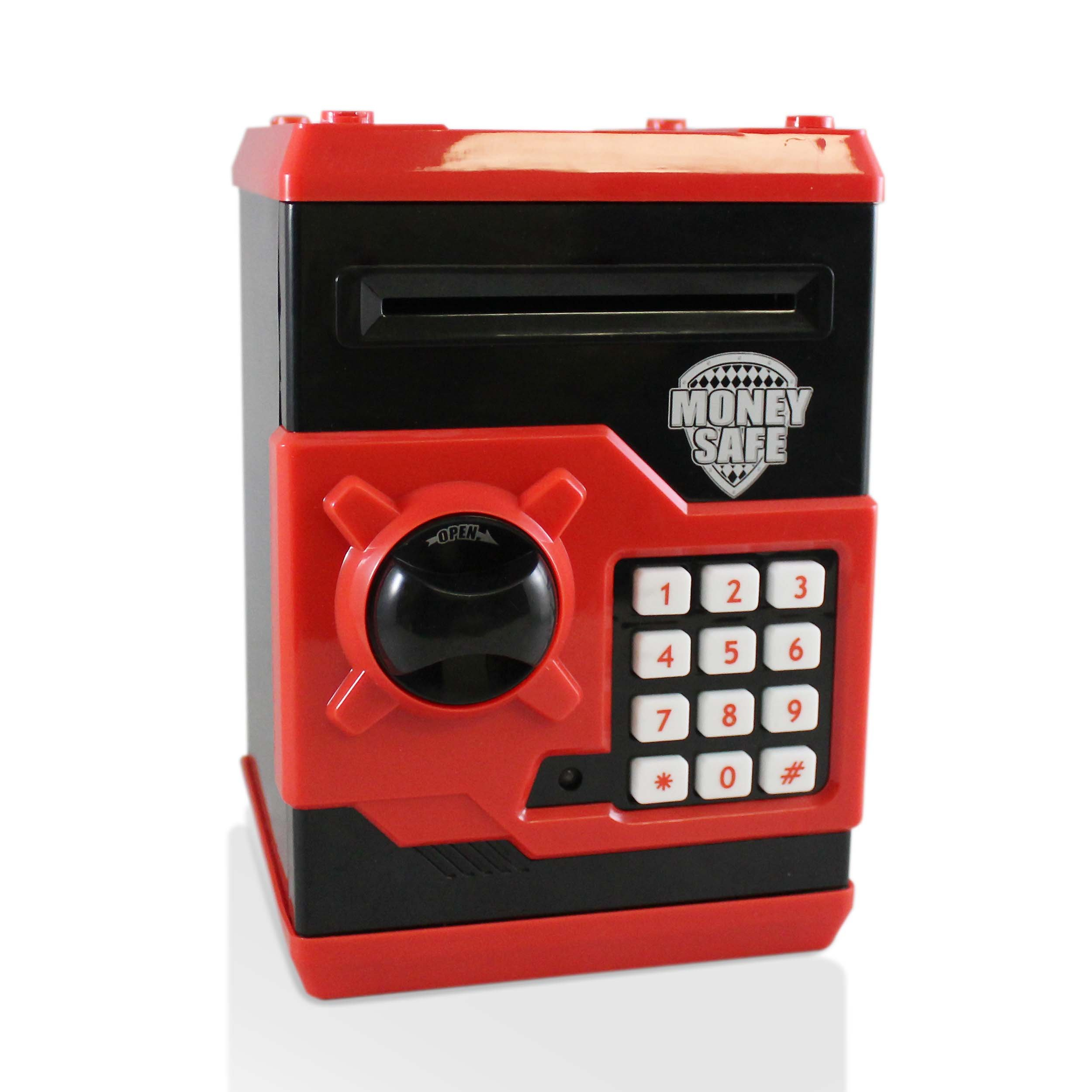 Black Red Safe Coin Bank For Kids - Authentic ATM Money Saver Keeps Cash, Toys, and Jewelry Inside Safe Inside - Auto Insert Bills and Electronic Password - Cool Piggy Bank Makes A Great Birthday Gift