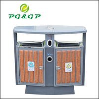 Steel wood Dustbin, outdoor trash can, dumpster, outdoor storage bin