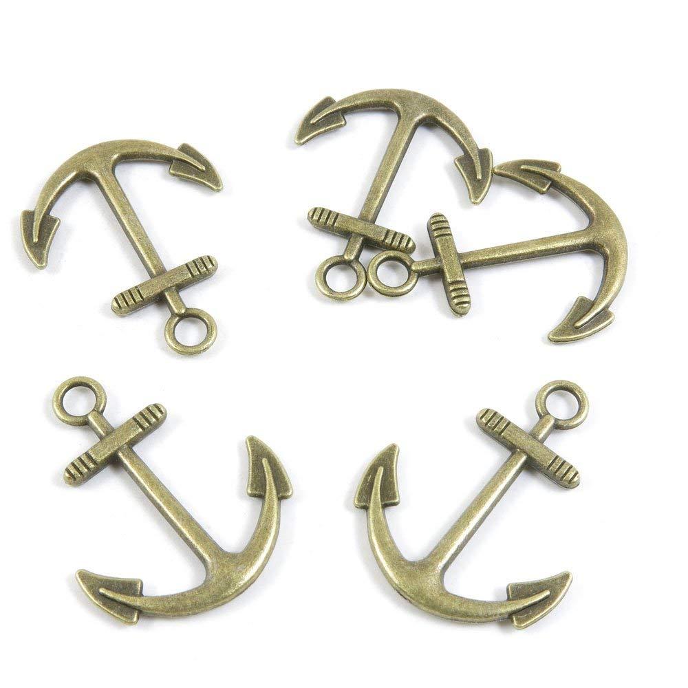 20 PCS Jewelry Making Charms Ancient Antique Bronze Fashion Jewelry Making Crafting Charms Findings Bulk for Bracelet Necklace Pendant A00347 Anchors