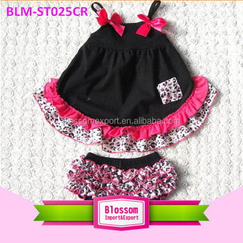 7d081b11393d Baby clothes Wholesale Toddler swing clothing set Cute Infant Girl Outfit  Ruffle Cotton Summer Pink  Black