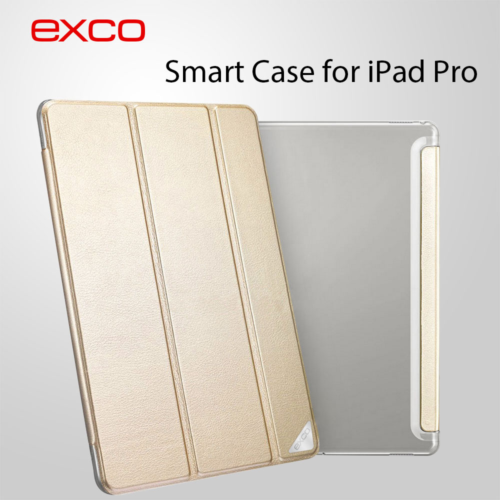 EXCO Customized Protective Back PU Gold Leather Tablet Cover case For <strong>iPad</strong> Pro