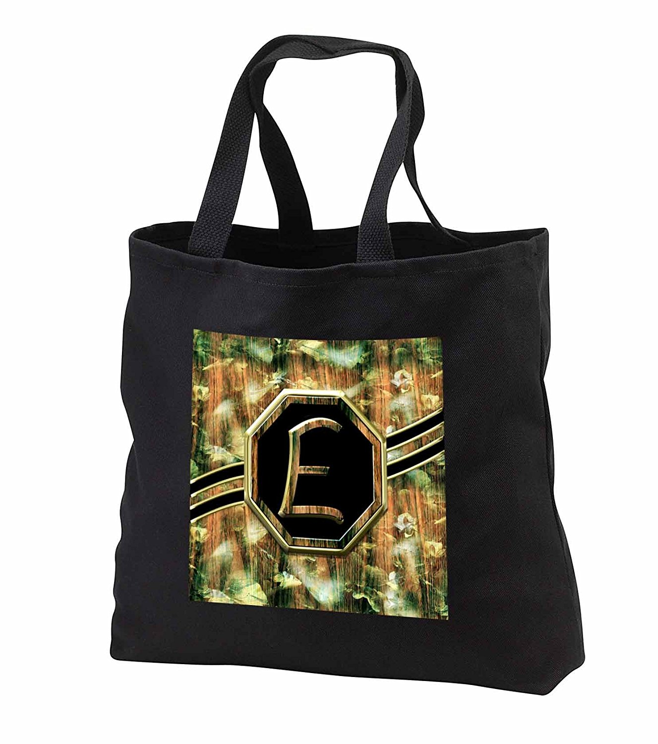 tb_242334 Charlyn Woodruff - CW Designs Monogram Camouflage - Elegant Camouflage Monogram Letter E Faux Gold Wood Grain Image - Tote Bags